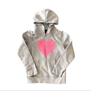 Gap Kids Grey Pink Sequin Heart Hoody Sweater Girl